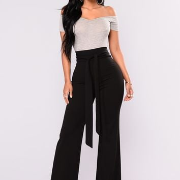 City Chic Waist Tie Pants  - Black