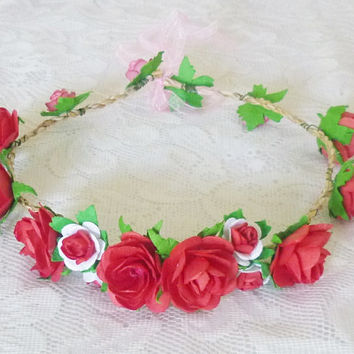 Red rose headband Tie back Flower crown paper Wedding headpiece Flower headband/ flower hair vine