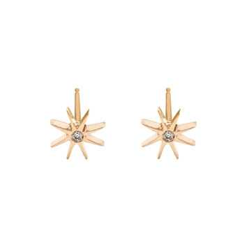 Medium Sunburst Earrings with Diamond