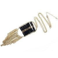 Black Ladder Tassel Necklace