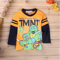 2016 New Fashion Kids Baby Boys Toddlers Long Sleeve T shirts CARTOON Cartoon 100% Cotton Tops 2-7Y Clothes