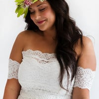 Grace loves lace Boho gypsy lace wedding dress with stunning lace arm bands and embroidered panelled skirt