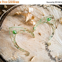 Brass earcuffs, elf ear cuffs, elven earcuffs with green glass crystals ,statement earrings, woodland, vulcan ears, green, ear tips
