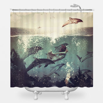 Girl and Dolphin Shower Curtain