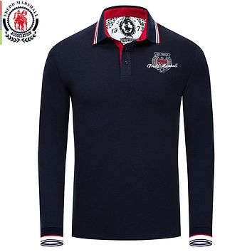 Fredd Marshall Autumn Brand Clothing New Men Polo Shirt Men Casual Embroidery Polo Shirts Long Sleeve Solid Male Polo Shirt 061