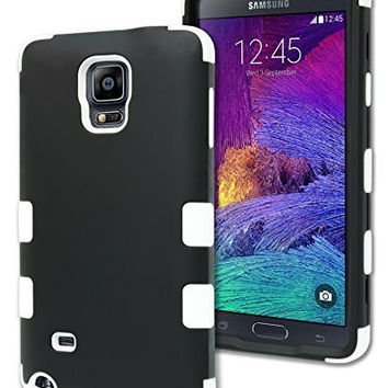 Samsung Galaxy Note 4 Hybrid Durable White Silicone Cover Black  Case