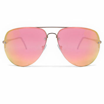 Quay x Amanda Steele Muse Sunglasses in Gold/Pink