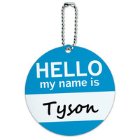 Tyson Hello My Name Is Round ID Card Luggage Tag