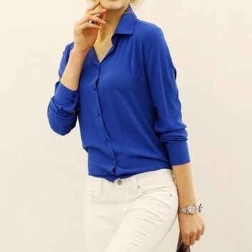 Summer Women Fashion Clothing Long-sleeve Chiffon Candy Color Red T Shirt Tops Blouse = 1958683972