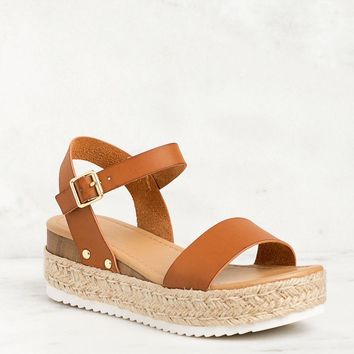 Walk It Off Tan Platform Sandals