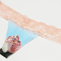 Cupcake Thong Blue and Pink Lace Panties Organic Underwear Lingerie