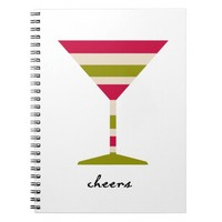 Holiday Cheer Martini Glass Spiral Notebook