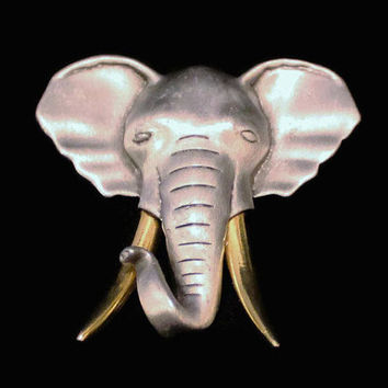 Vintage JJ Jonette Pewter Elephant Brooch With Gold Tone Tusks