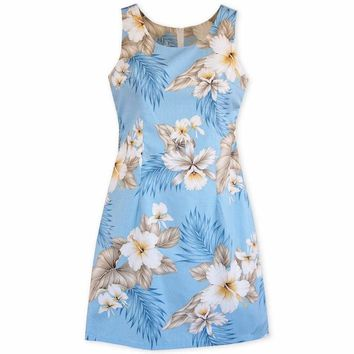 Hibiscus Joy Blue Short Hawaiian Tank Dress