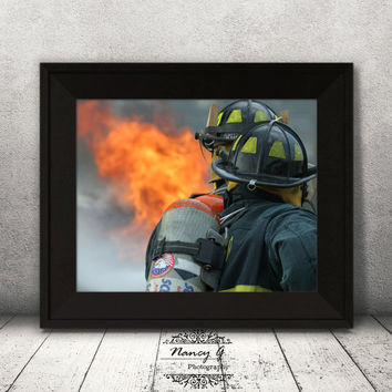 Two Firefighters Car Fire Print, Living Room Art, Fireman Firefighter Gift, Fire Station Decor, Fire fighter fighting Fire Print