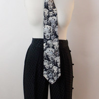 Vintage ICONIC GIANNI VERSACE  James Dean and Monroe Silk Print Black and White Necktie