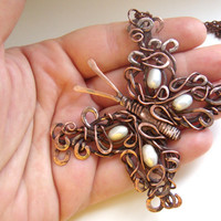 Copper Wire Wrapped pendant, butterfly,  natural pearls. FREE SHIPPING