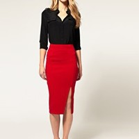 ASOS | ASOS Ponti Pencil Skirt With Thigh Split at ASOS