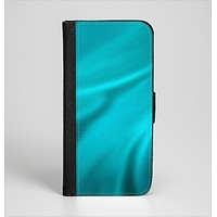 The Turquoise Highlighted Swirl Ink-Fuzed Leather Folding Wallet Case for the iPhone 6/6s, 6/6s Plus, 5/5s and 5c