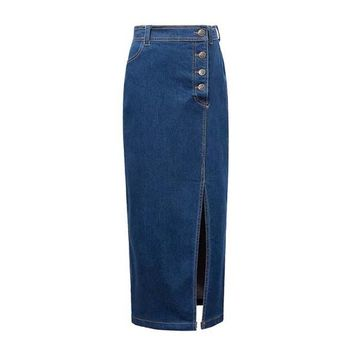 New Women Sexy Long Denim Jean Maxi Skirt Front Slit