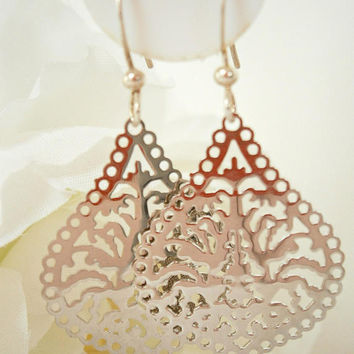 Filigree Earring - Teardrop Earrings - Chandelier Jewelry - Silver Lace Earring - Metallic Jewellery - Drop Earrings - Ornate Earring