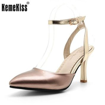 Size 34-43 Women's High Heel Sandals Women Ankle-Strap Patent Leather Shoes Fashion Pointed Toe Thin Heel Casual Wedding Shoes