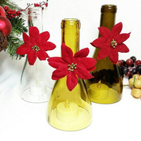 Recycled Wine Bottle Christmas Hurricane Tealight Candle Holder/Upcycled Wine Bottle/Repurposed Vino Winery Bottle/Poinsettia Center Peice