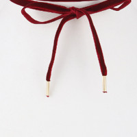 Bonnie Velvet Bow Choker Necklace - Burgundy