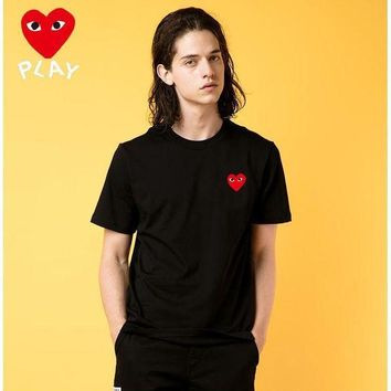 PEAP2Q new comme des garcons mens play shirt sleeve t shirt 100 cotton top