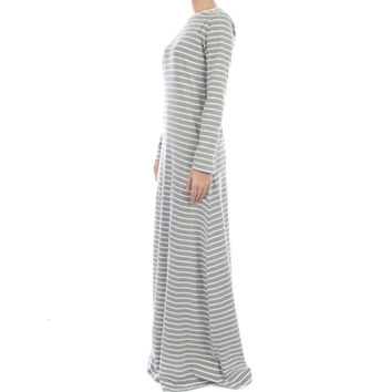 GREY STRIPE ABAYA - £39.99 : Inayah, Islamic clothing & fashion, abayas, jilbabs, hijabs, jalabiyas & hijab pins