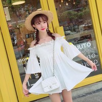 Korean summer sweet princess white shoulder less dress SD00932