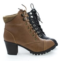 Baxter10L Lace Up Knitted Cuff Lug Sole Platform Stacked Heel Boots