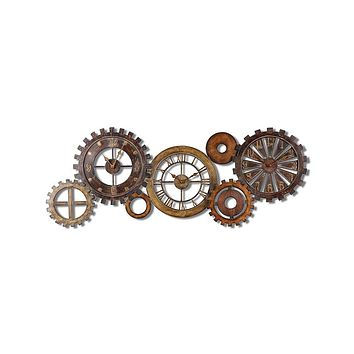 Uttermost Spare Parts Large Wall Clock - Metal Gear Collage - Rustic Colors
