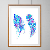 Feathers Watercolor Print, Wall Art Poster, Wall Hanging, Home Decor, Nursery Art ,Children's gift,Kids room, Colorful Feathers Illustration