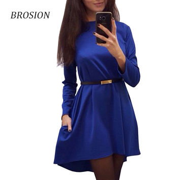 2016 Brosion Fashion Casual Winter Autumn Dress Women Long Sleeved Party Dresses Polyester Black Green Red Women Office Dress