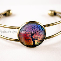 Antiqued Bronze Bangle Bracelet - Abstract Tree Art 006