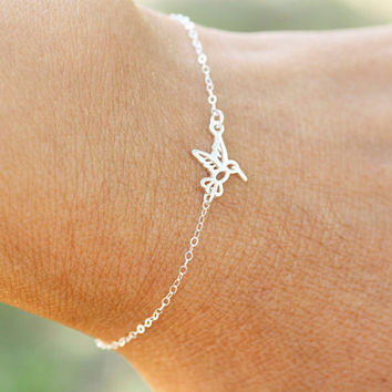 Tiny Sterling Silver Hummingbird Bracelet