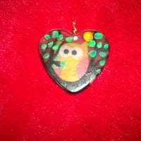 Black Resin with Orange Owl Sitting in Painted Tree Christmas Ornament or Large Focal Pendant