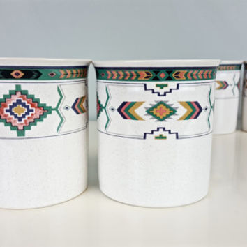 4 Vintage Coffee Mugs Boho Navajo Aztec Tribal Arrow Southwest Pastel Studio Nova Adirondack Pattern Coffee Cup Boho Chic Kitchen Home Decor