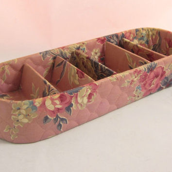 Shabby Roses Vintage Jewelry Organizer Quilted Box with Dividers Dream House Closet Accessories by Jayhawk