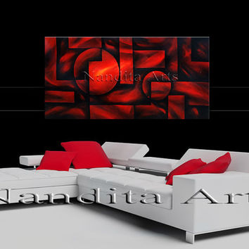 "GEOMETRIC ART Red Abstract Painting, Modern Art, Contemporary Art on Canvas Large Artwork Home Decor Wall Hanging""48x24"" (121.92x60.96)"
