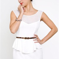 Whitney Eve Vintage Dress- White Peplum Dress- $188