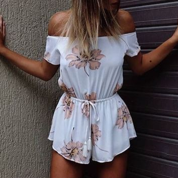 FASHION OFF SHOULDER PRINT ROMPER