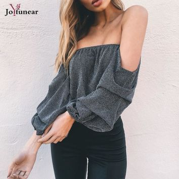 off shoulder slash neck strapless casual shirts women Sexy long sleeve pleate shining party tops Elegant summer tops