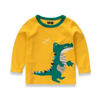 Jchao kid boy girl brand T shirt spring Autumn fashion Long sleeve shirt Cotton sports car Dinosaur sweatshirts baby kid clothes