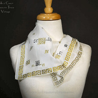 Silk Rayon Scarf Hanky White with Black Gold Greek Key Geometric Design A Susan Smart Creation Hand Rolled