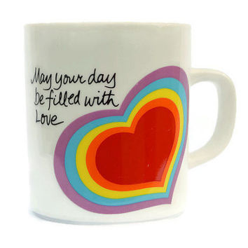 May Your Day Be Filled With Love Coffee Cup, Love Mug, Avon Easter 1983 Rainbow Heart, Vintage Saint Valentines Gift, Retro Friendship Mug