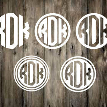 Circle Monogram Decal, Yeti Decal, Car Decal, Laptop Decal, Charger Decal