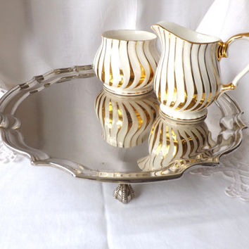 Sadler Creamer and Sugar Set / Vintage English Teaware / Sadler Gold Lusterware Jug / Afternoon Tea Party / Vintage Staffordshire UK