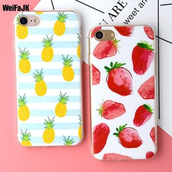 WeiFaJK Soft Phone Case for iPhone 5s 5 6 6s Case Fruit Banana Pineapple Strawberry TPU Silicone Cover for iPhone X 7 8Plus Case